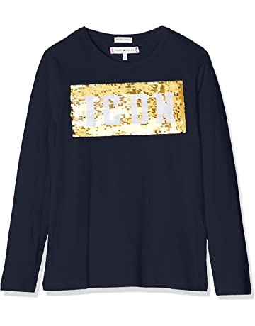 02a507ca655d34 Tommy Hilfiger Mädchen Langarmshirt Sequin Tommy Icon Tee L S