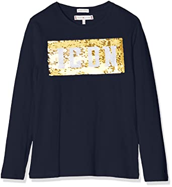 38bc6579fc47 Tommy Hilfiger Tommy Hilfiger Mädchen Langarmshirt Sequin Tommy Icon Tee  L S Langarmshirts  Amazon.de  Bekleidung