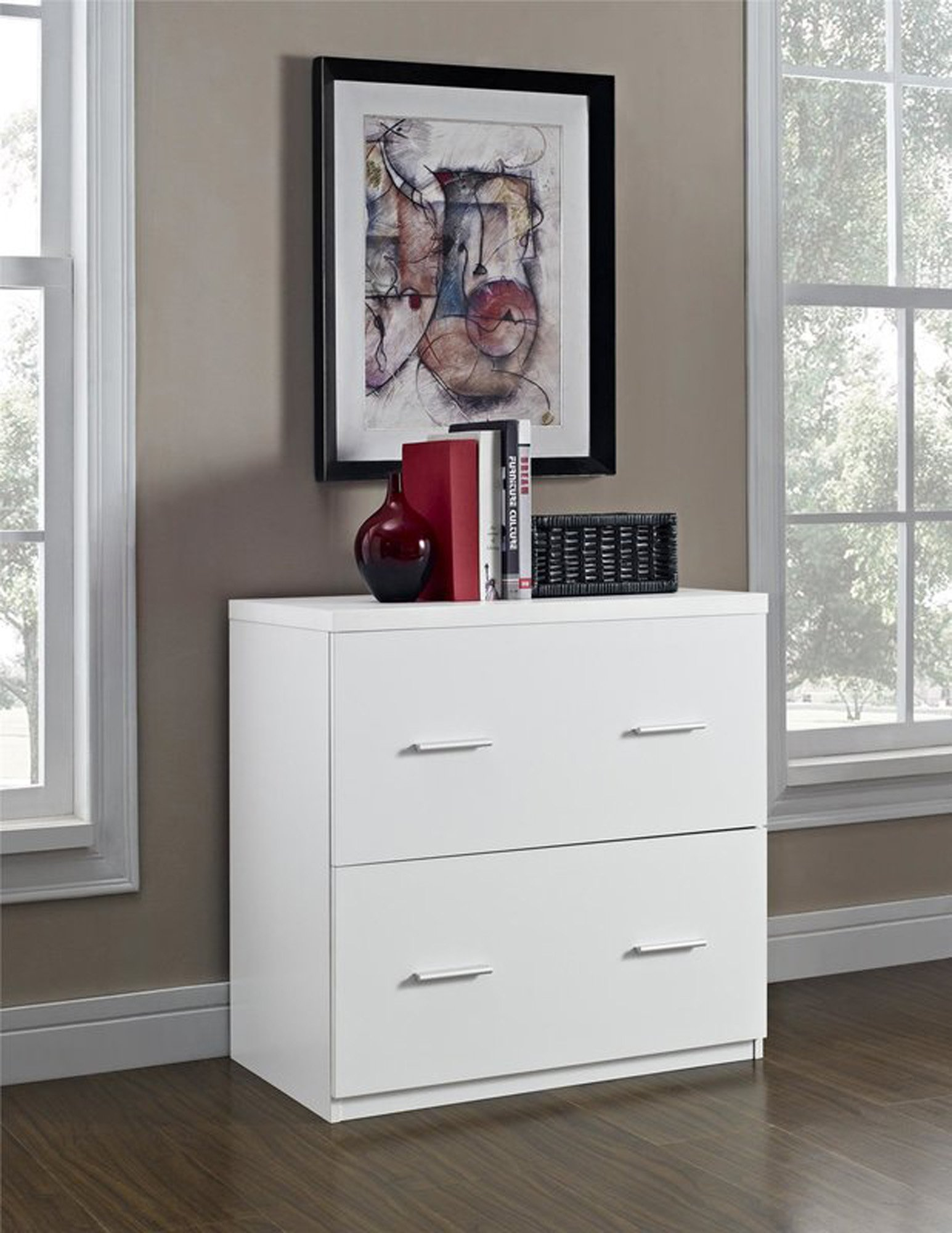 Lateral File Cabinet Filling Organizer with 2 Storage Drawers (White)