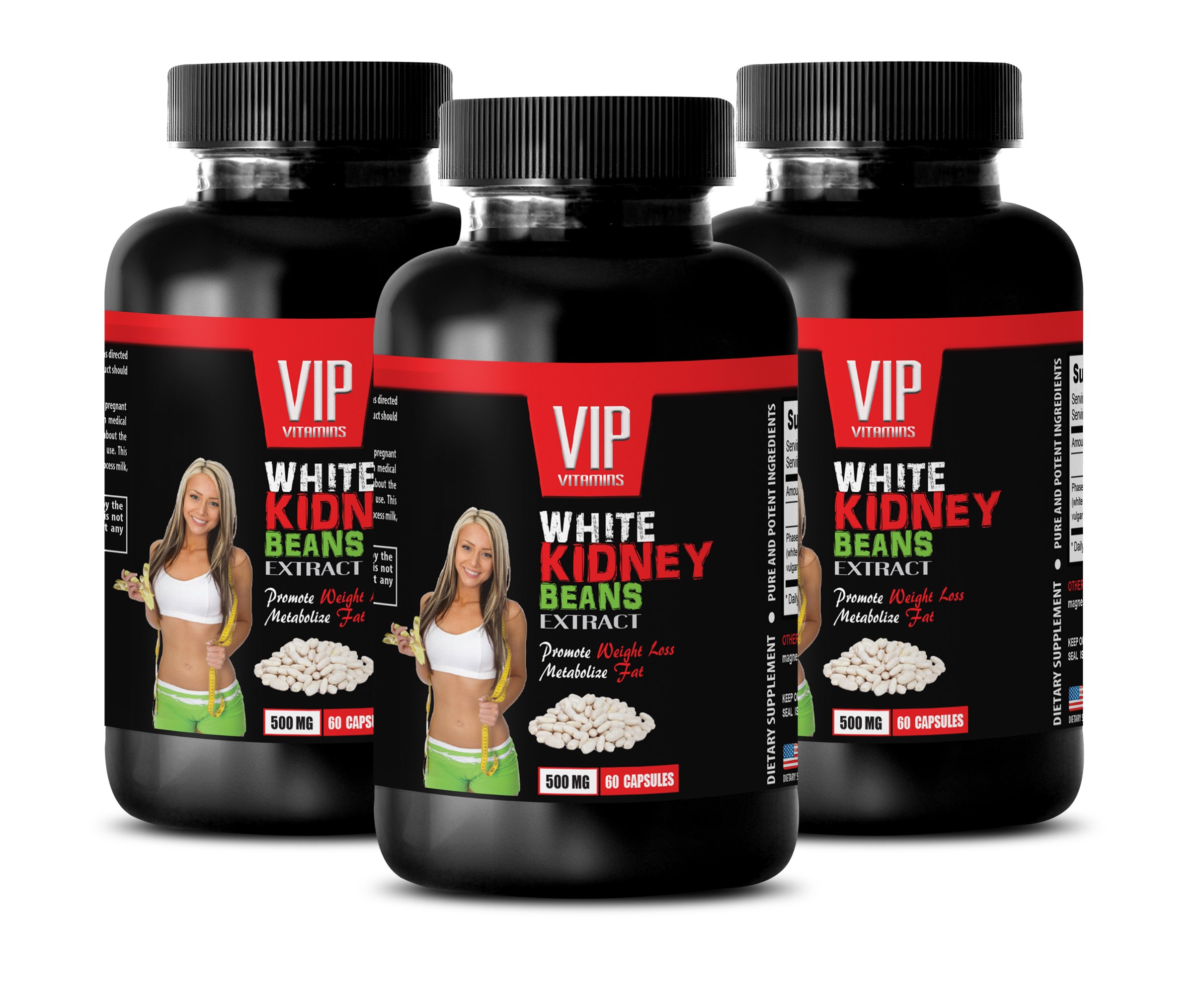 fat burner supplements for women - WHITE KIDNEY BEANS EXTRACT - weight loss beans - 3 Bottles 180 Capsules