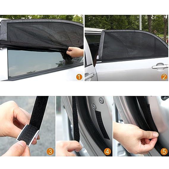 ventana de coche anti UV y mosquitos perfecto para la mayor/ía de coches HUABEI 2 Pack Parasol de Coche Universal para Beb/és