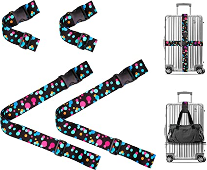 Extra Long Adjustable Length Baggage Suitcase Straps Belts Bag Strap For Business Trip Flamingo Logo Cool Adjustable Length Travel Accessories With 3-Dial Lock