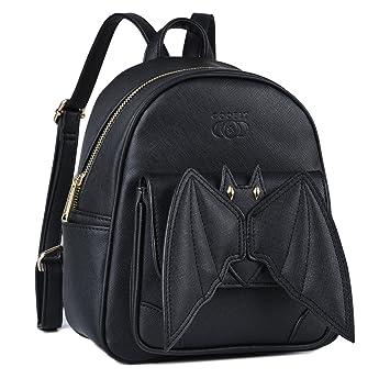 Coofit Petit Sac a dos femme Mini sac a dos femme en cuir PU Sac a dos noir avec Bat Ailes petit Sac a dos ville femme Design original (Black)