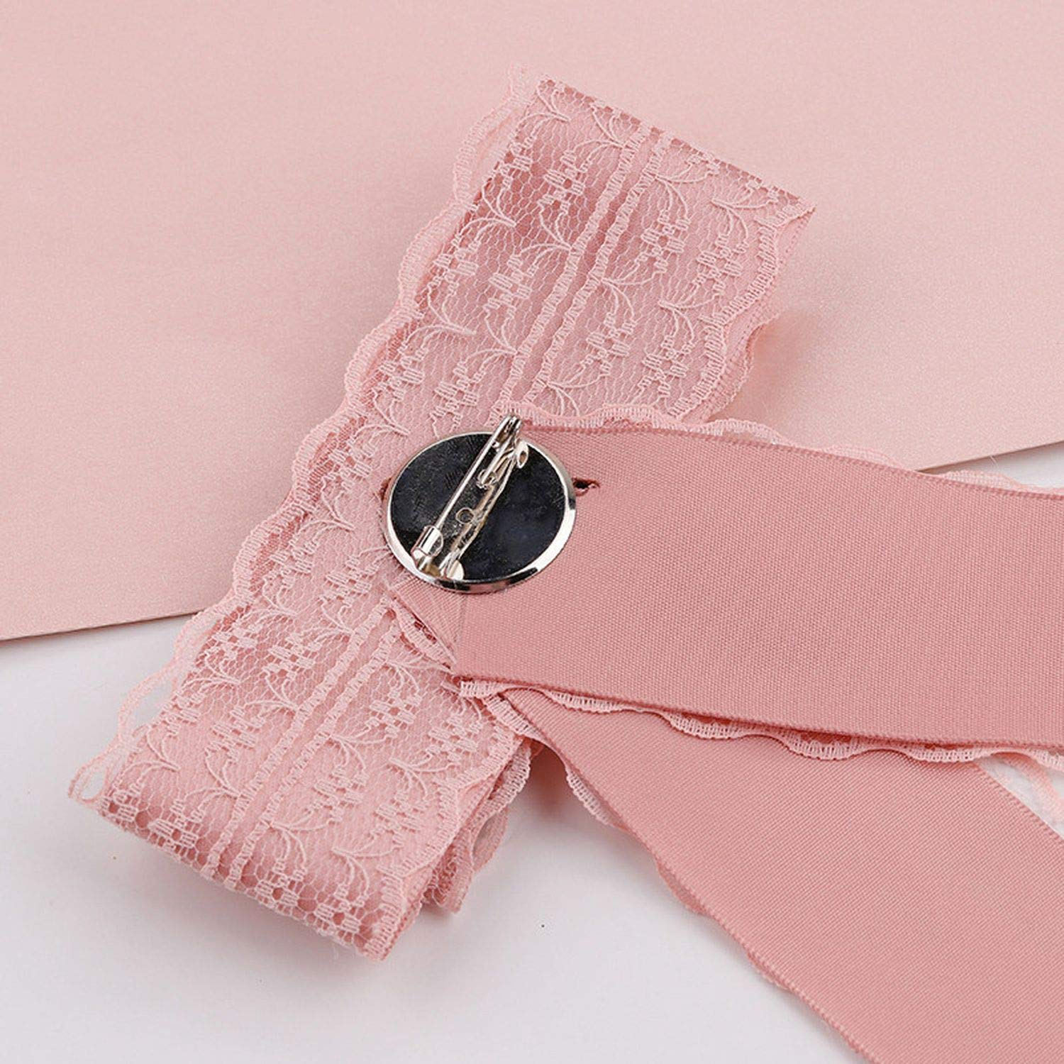 Crystal Sunflower Lace Ribbon Bow Brooch Pins Women Shirt Collar Neck Tie Bowknot Brooches for Women Jewelry
