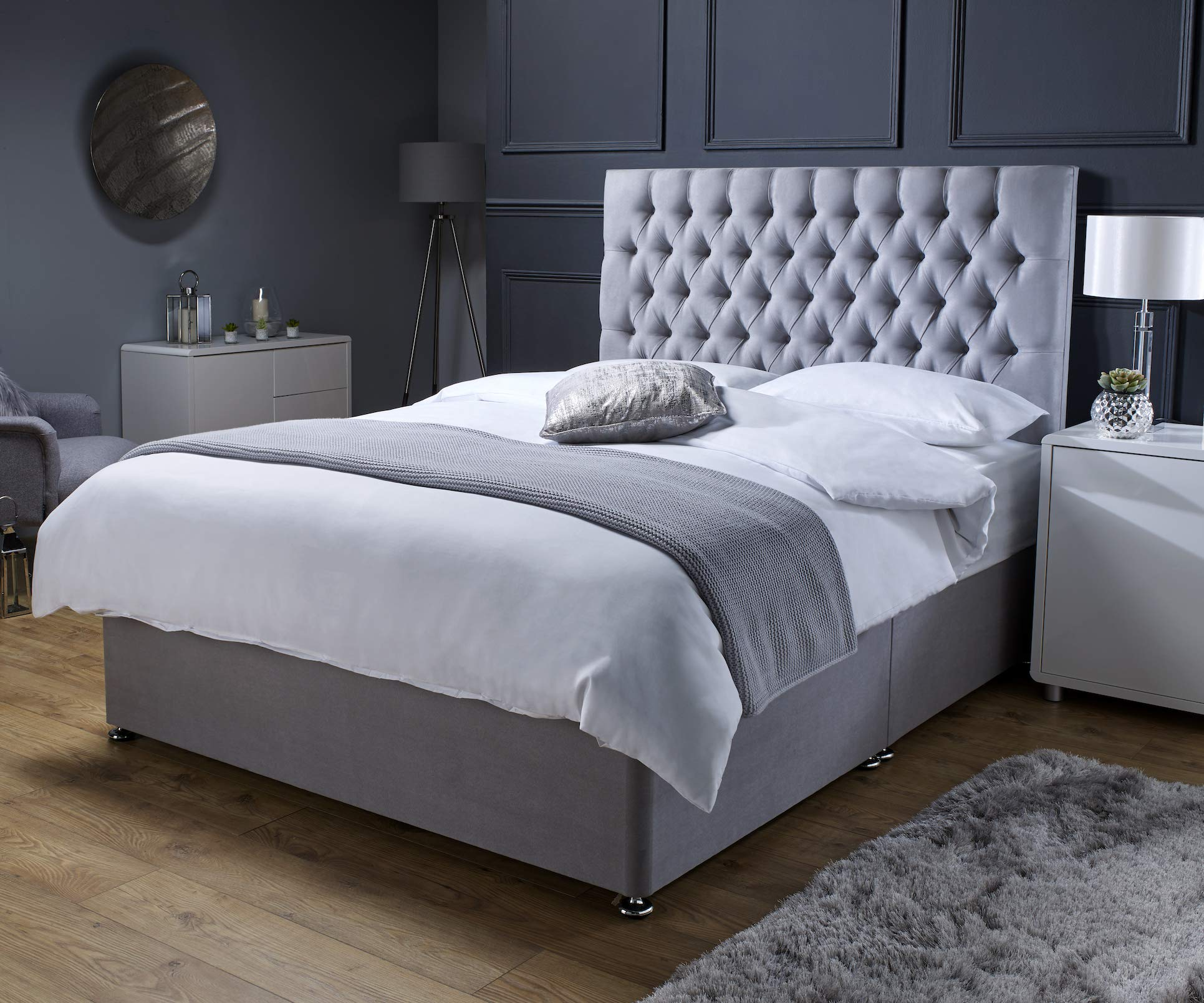 Revive Direct Premium - Grey Suede Double Bed with Mattress (Memory Foam  Mattress), Designer Headboard and Chrome Feet - 3 Free Drawers Included -