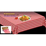 """Disposable Plastic Tablecloths On a Roll WITH Self Cutter Box,Cut Tablecloth To Own Table Size, Perfect For Kitchen or Picnic Table, Indoor/Outdoor Use,52""""W X 1181""""Long ,Gingham (Red)"""