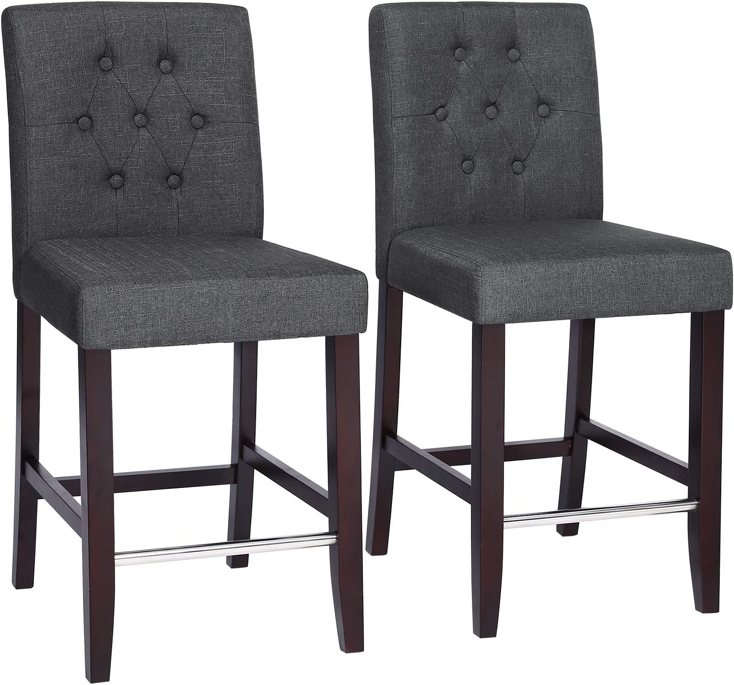 SONGMICS Set of 2 Bar Stools Kitchen Breakfast Chairs, with Button Tufted Backrest, Linen-Style Fabric, Solid Wood Legs, with Footrest, Dark Gray ULDC34GY, Seat Height 24