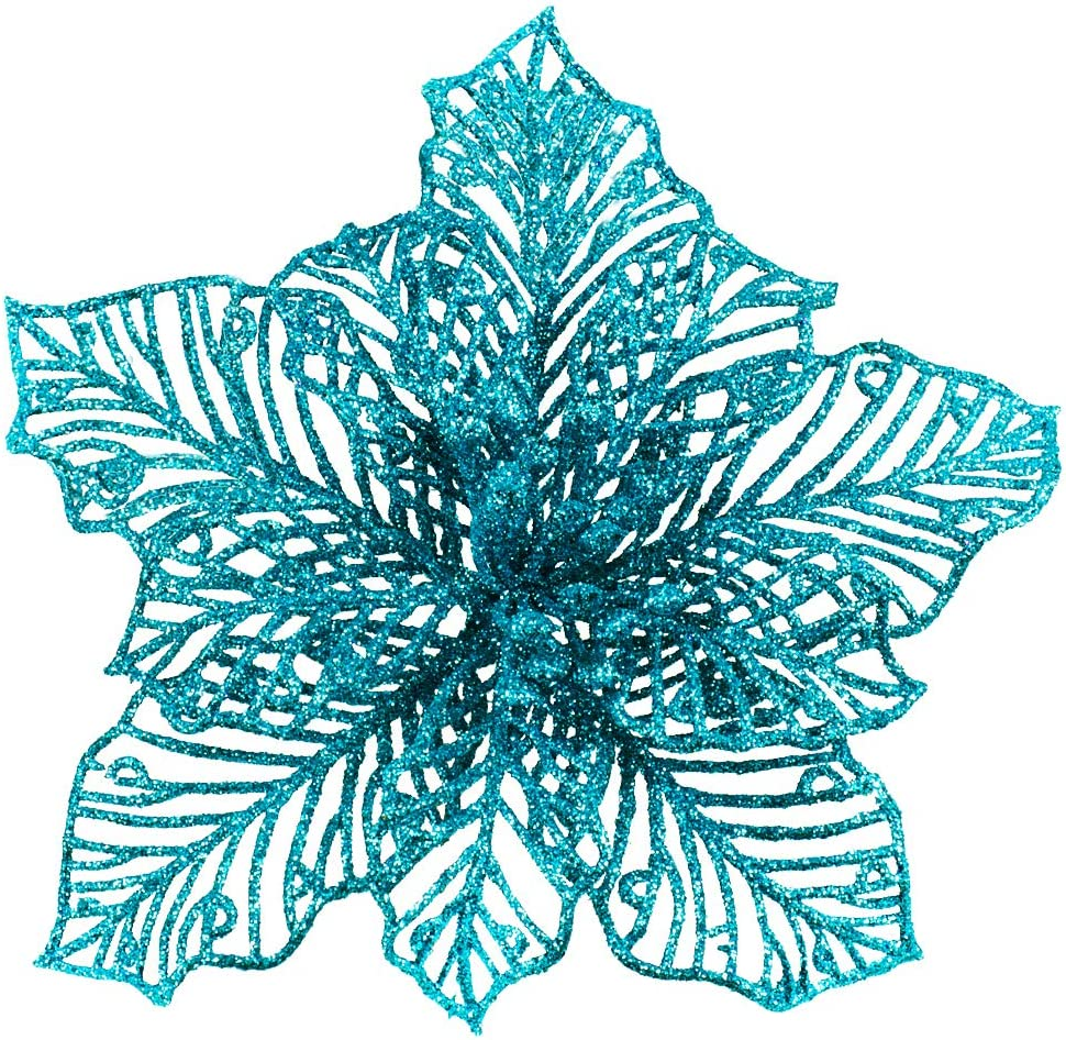 "24 Pcs Christmas Teal Blue Glitter Mesh Holly Leaf Artificial Poinsettia Flowers Stems Tree Ornaments 6.6"" W for Blue Christmas Tree Wreath Garland Gift Floral Winter Wedding Holiday Decoration"