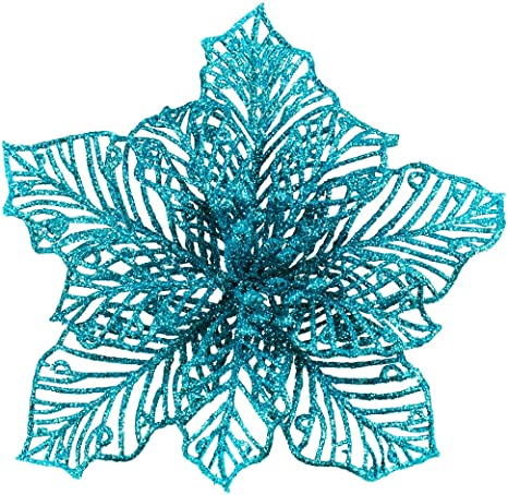 Amazon Com 24 Pcs Christmas Teal Blue Glitter Mesh Holly Leaf Artificial Poinsettia Flowers Stems Tree Ornaments 6 6 W For Blue Christmas Tree Wreath Garland Gift Floral Winter Wedding Holiday Decoration Furniture