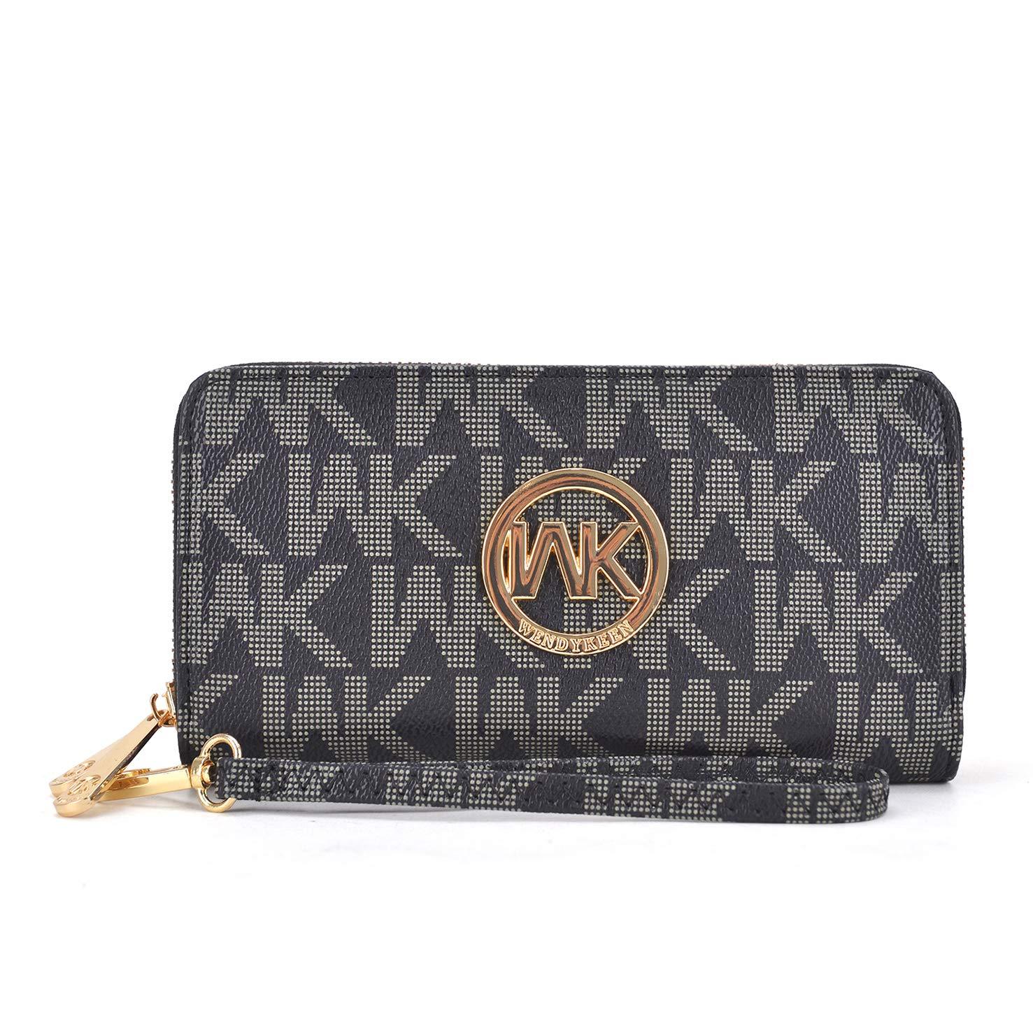 Wallets for Women, Soft PU Leather Double Zipper Around Multi Card Organizer Roomy Vintage Lady Clutch (WK-K908-BK)