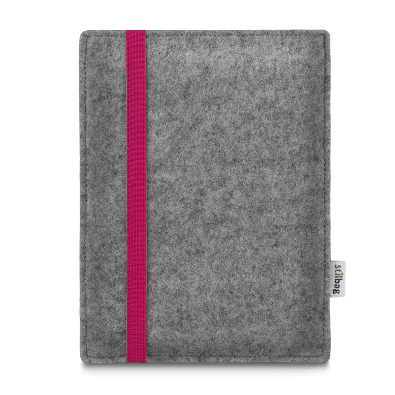 Stilbag maß geschneiderte eReader-Hü lle LEON | Farbe: hellgrau-pink | eBook Reader Tasche aus Filz | e-Reader Schutzhü lle | Tasche Made in Germany