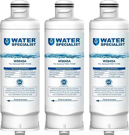 RF23M8090SG RF23M8070SG 3-Pack HAF-QIN//EXP Crystala Filters DA97-17376B Replacement For Samsung Genuine DA97-08006C Refrigerator Water Filter RF23M8570SR RF23M8070SR RF23M8590SG, RF23M8090SR