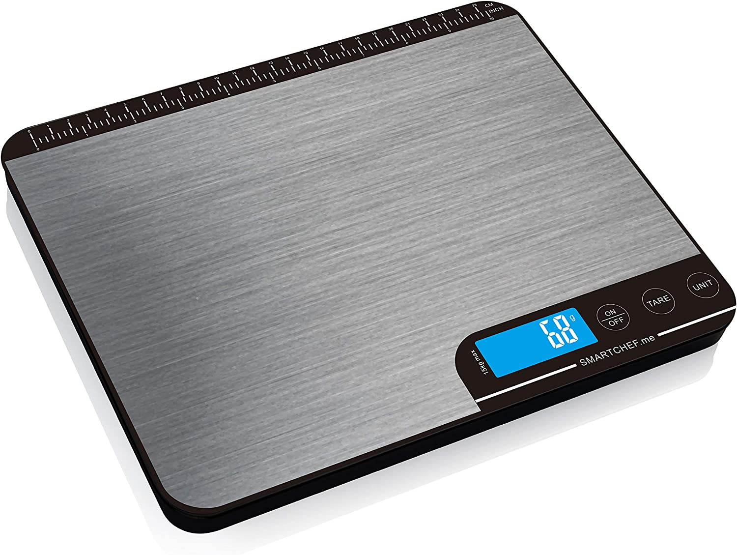reflex 15kg/33lb digital smart food kitchen baking postal Scale, grams and ounces, waterproof, USB rechargeable, wireless, accurate, metal stainless steel surface, nutritional keto calculator, wireless, free mobile apps