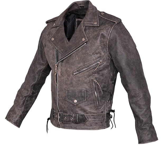 Marlon Brando Mens Stonewash Distressed Vintage Leather Jacket ...