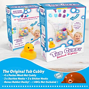 Perfect for Daily Use Sticks to Bathtubs 2 New /& Improved Premium Suction Cups Mirrors /& More! Available in 6 Colors Aquamarine Premium Bathtub Toy Organizer with a Zipper Windows
