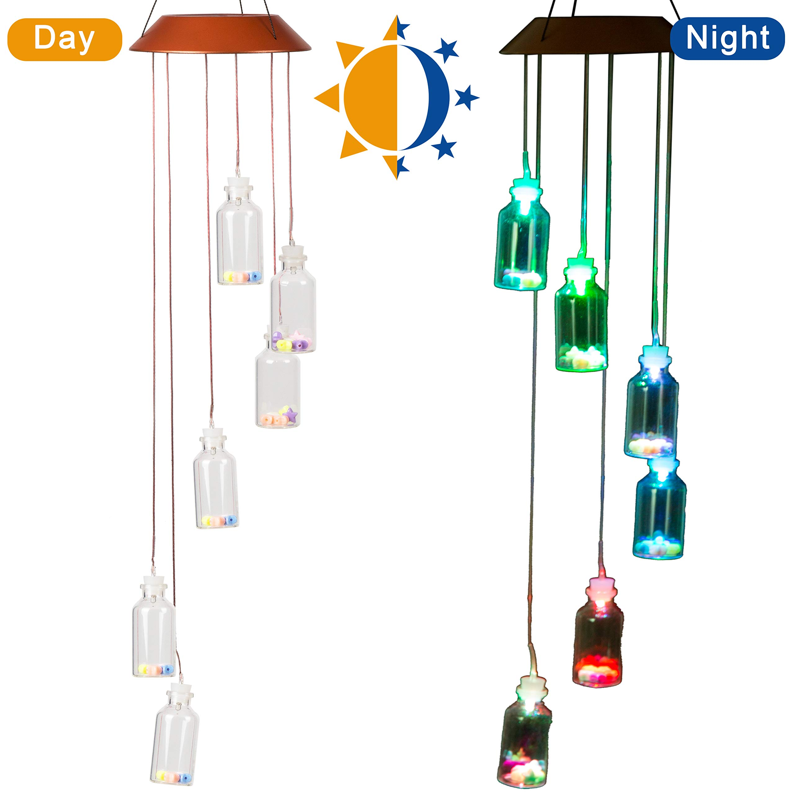 CXFF LED Solar Wishing Bottle Wind Chimes Outdoor - Waterproof Solar Powered LED Changing Light Color Wishing Bottle Mobile Romantic Wind-Bell for Home, Party, Festival Decor, Night Garden Decoration