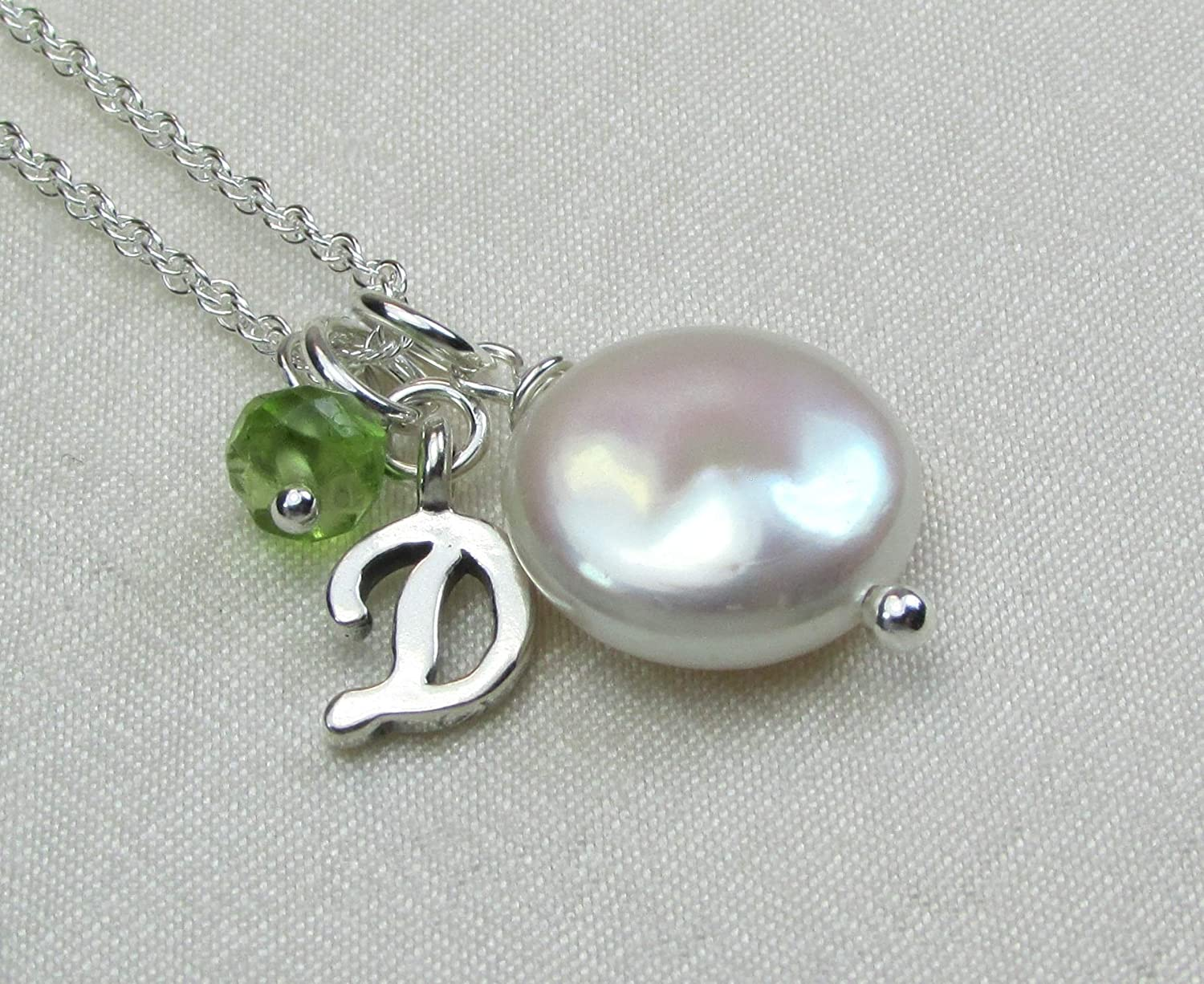 Sterling Silver Chain Bridesmaid Gift Simple Pearl Necklace Letter Pendant Personalized Jewelry White Gift for Mom Initial Jewelry