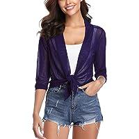 iClosam Womens Tie Front 3/4 Sleeve Sheer Shrug Cropped Bolero Cardigan