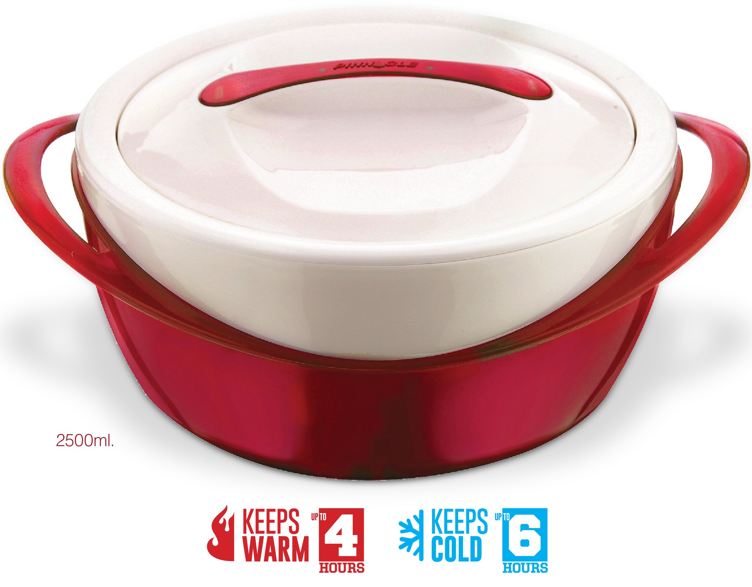 Pinnacle Casserole Dish - Large Soup and Salad Bowl - Insulated Serving Bowl With Lid - Red