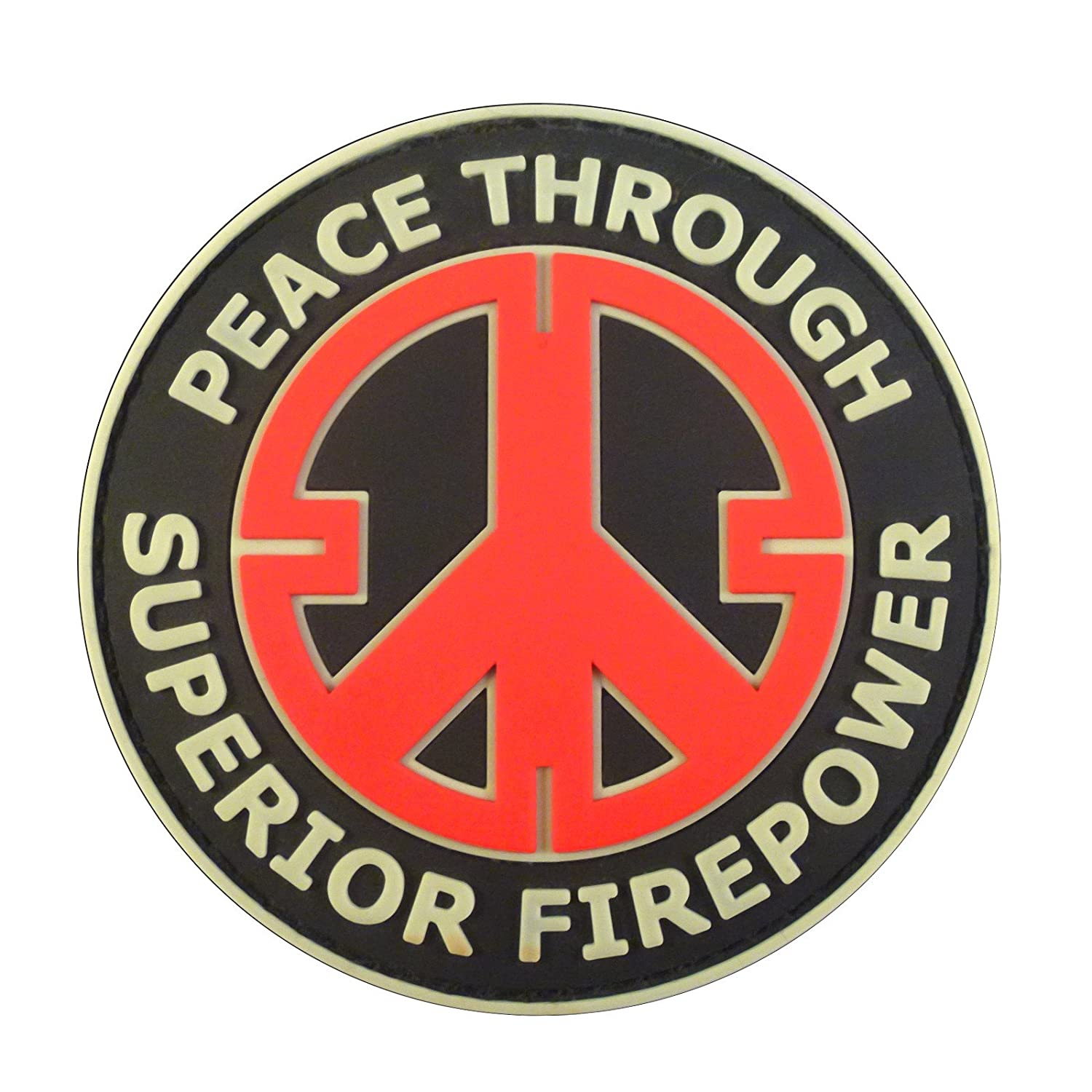 Peace Through Superior Firepower PVC Airsoft Patch Black