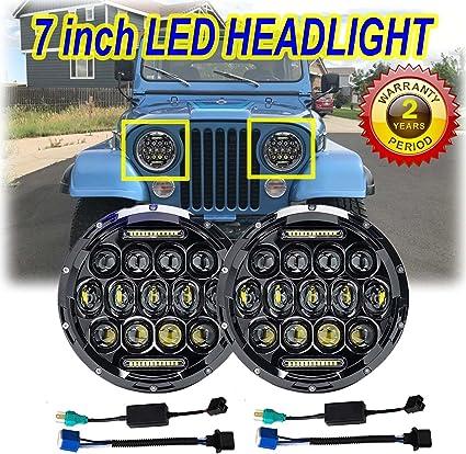 Pair 280w LED Headlight Headlamp High Low Beam DRL Upgrade for Jeep CJ CJ5 CJ7