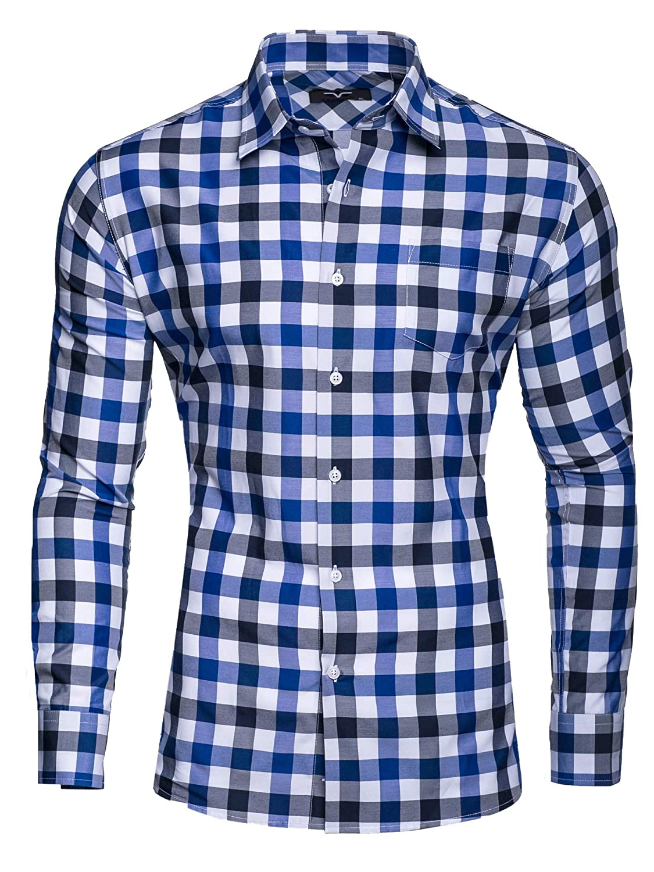 Kayhan Doppelfarbig Herren-Hemd Slim-Fit Langarm-Hemden S-6XL