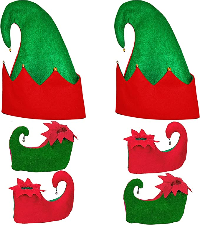 New Ladies Christmas Red Green Elf Tights Headbopper Shoe Covers Xmas Party Set