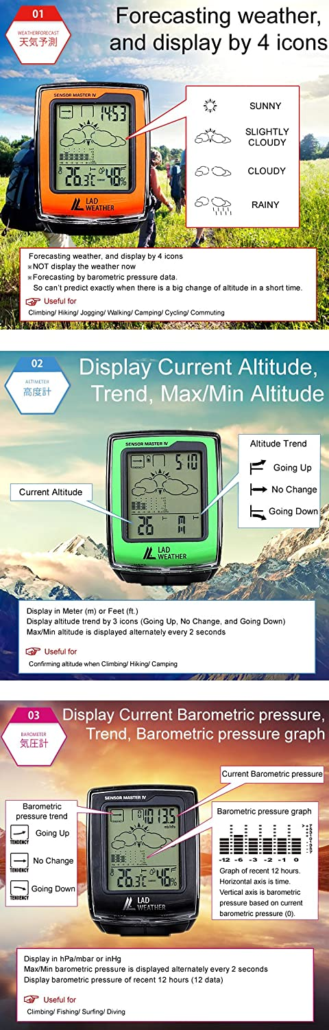 Amazon.com: LAD-WEATHER Outdoor Watch Altimeter Barometer Compass Hygrometer Thermometer Weather Monitor Sports Watches: Watches
