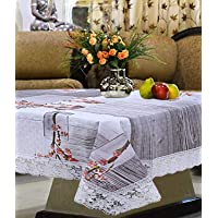 Kuber Industries Floral Checkered Design PVC 4 Seater Centre Table Cover (Grey) -CTKTC14356
