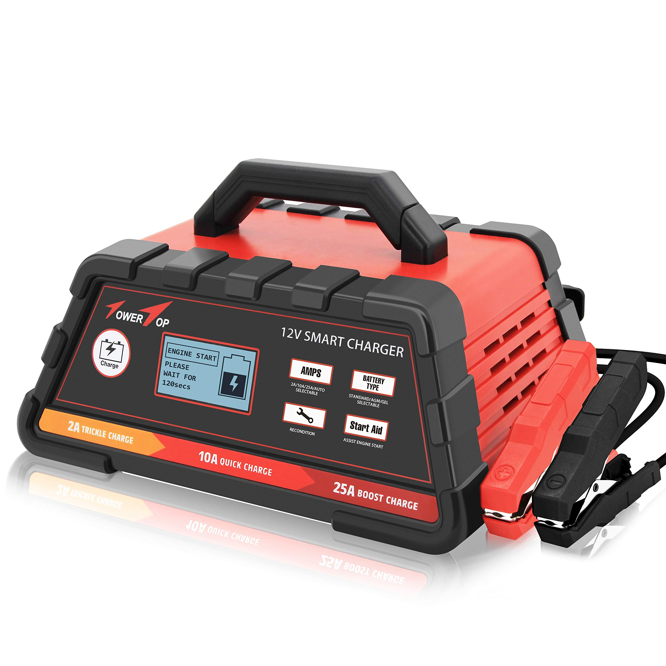 2/10/25A 12V Smart Battery Charger/Maintainer Fully Automatic with Engine Start, Cable Clamps by TowerTop