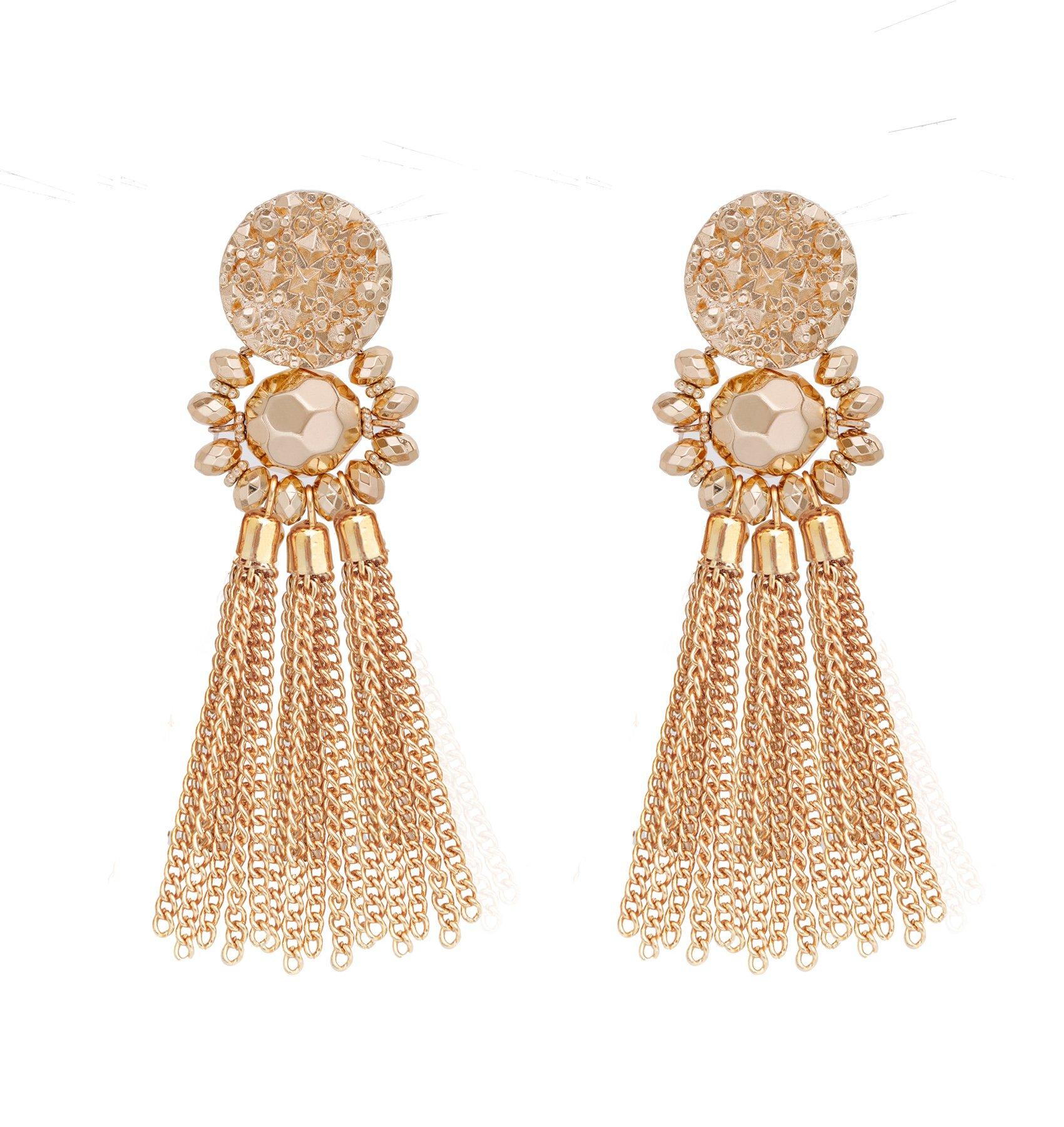 Bohemian Statement Tassel Chandelier Drop Dangle Earrings with Cassandra Button Stud (gold) by LPON (Image #1)
