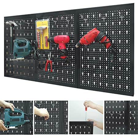 Marko Storage Solutions Peg Board Garage Wall Tool Rack 3 Panel Hanging  Storage Shed Tidy Steel