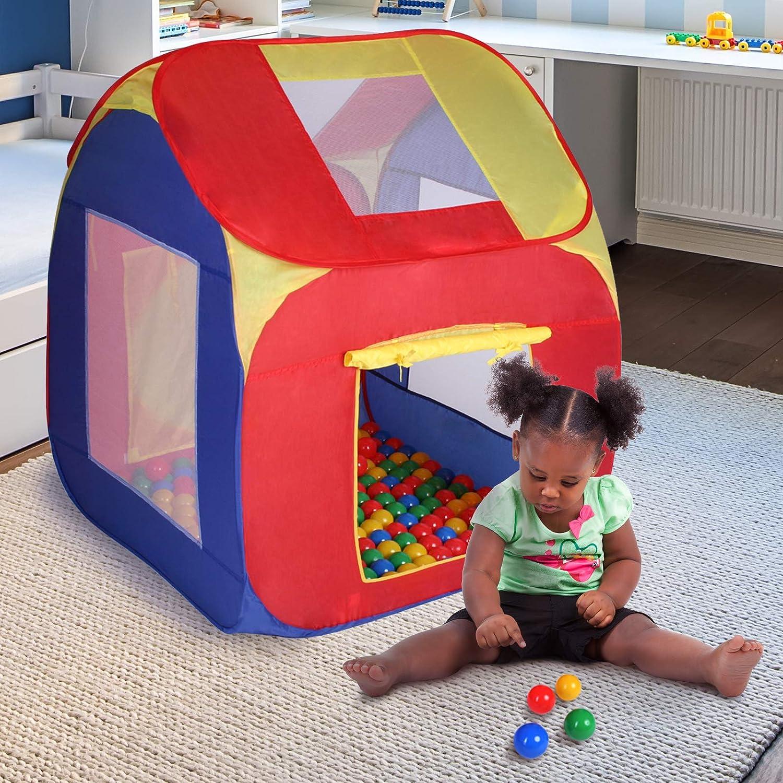 Tienda de Campaña Infantil con 200 Bolas | (LxAxA): 85x85x100 cm, Plegable, Techo Extraíble, Bolsa para Interior y Exterior | Carpa para Niños, Piscina de ...