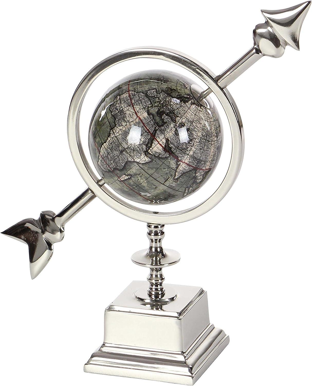 "Deco 79 43500 Polished Aluminum and PVC Decorative Globe, 14"" x 13"", Silver/Gray"