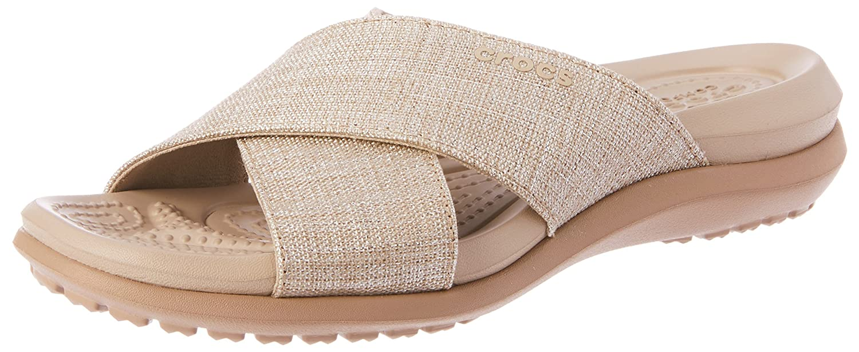 Crocs Women's Capri Shimmer Cross-Band Sandal B071JFQZKK 8 B(M) US|Oyster/Cobblestone