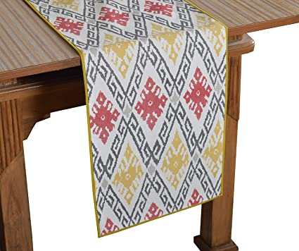 Bilberry Furnishing By Preeti Grover 100% Cotton Multicolor Printed Table Runner (TR_04) - (Table Runner Size 14