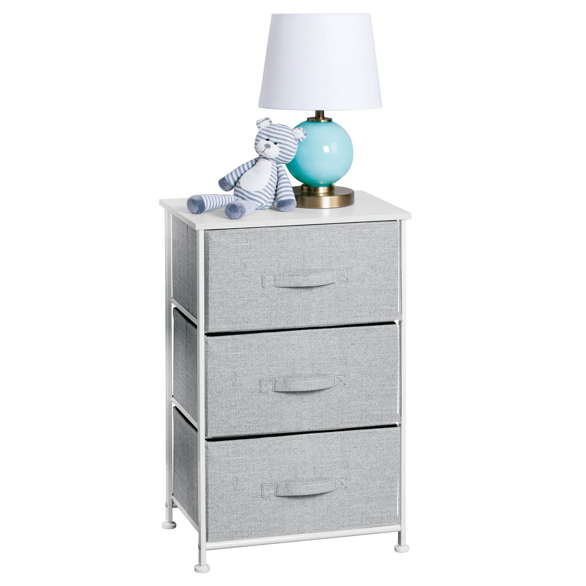 mDesign Fabric Baby 3-Drawer Dresser and Storage Organizer Unit for Nursery, Bedroom, Play Room - Gray