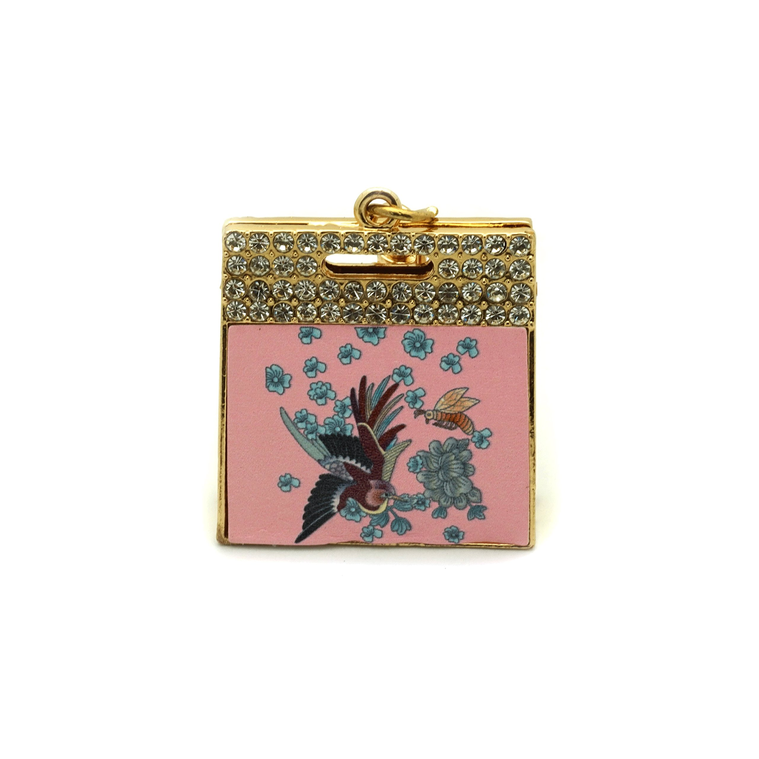 Teri's Boutique Feather Flower Lady Print 3D Alloy Women Bag Purse Charm Jewelry Keychain (Pink 1)