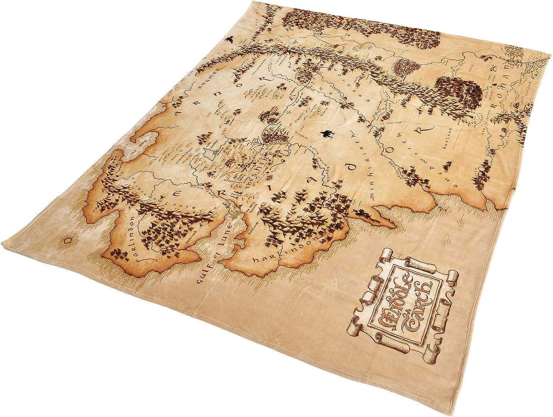 Herr der Ringe El Señor de los Anillos Mapa de la Tierra Media Manta de vellón Beige 200x220cm