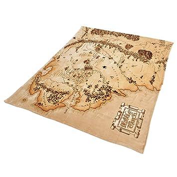 Herr Der Ringe Flausch Decke Mittelerde Karte 200x220cm Elbenwald