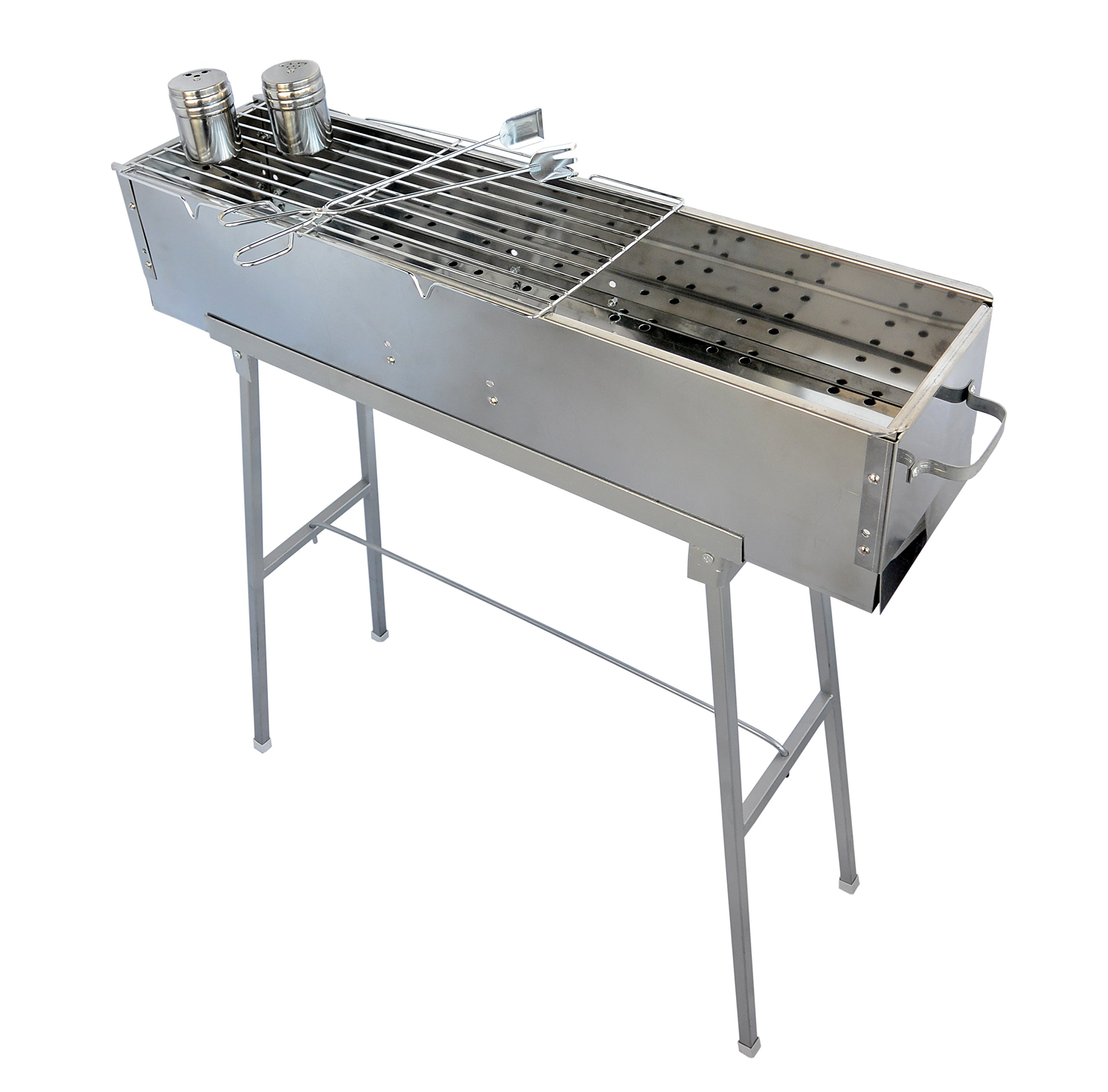 "Party Griller 32"" Stainless Steel Charcoal Grill w/ Straight Grid Grate – Portable BBQ Grill, Yakitori Grill, Kebab Grill, Satay Grill. Makes Juicy Shish Kebab, Shashlik, Spiedini on the Skewer"