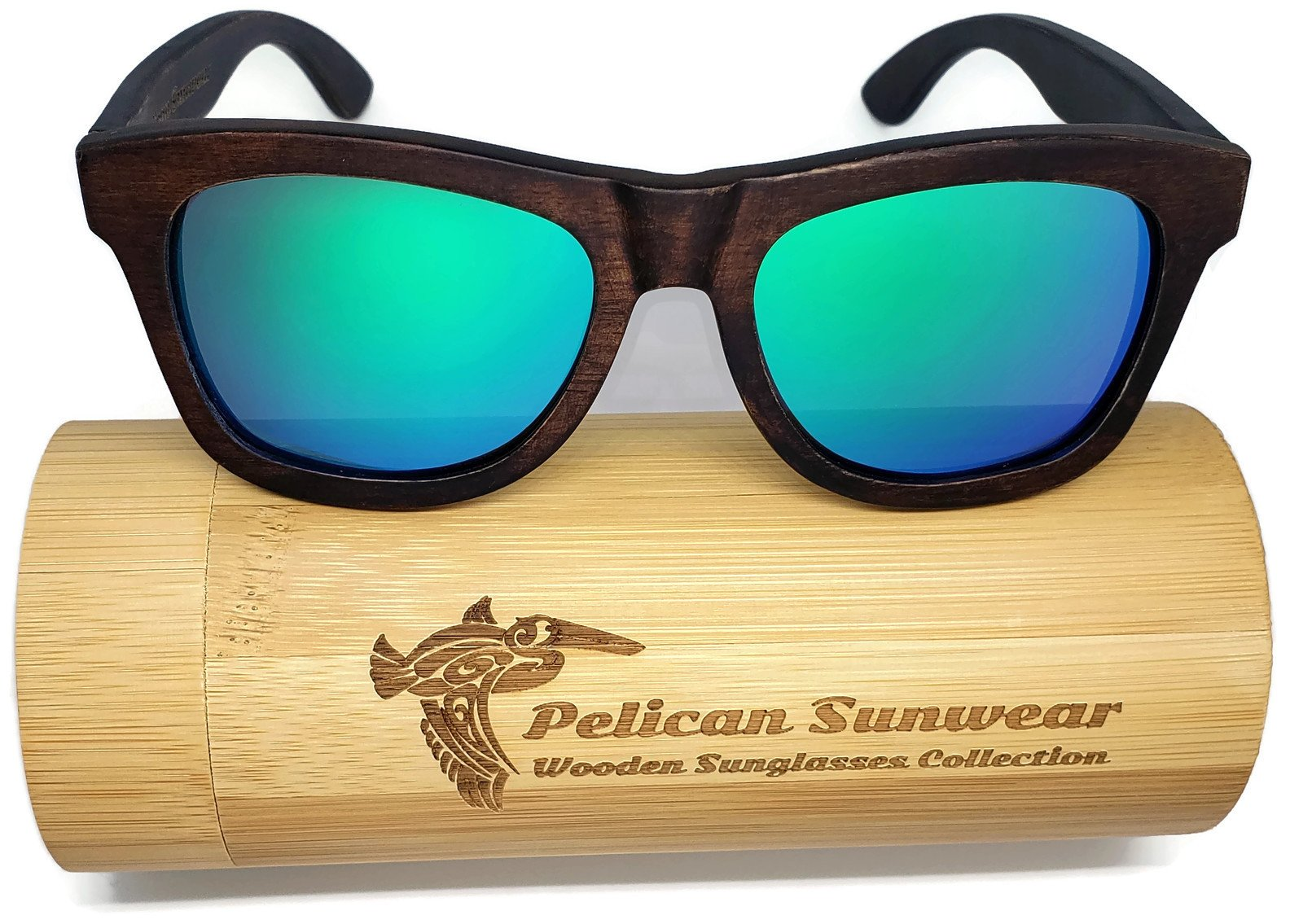 Wooden Polarized Sunglasses - Handmade Solid Real Dumu Wood Wayfarer Style w/Bamboo Case - 100% UV Protection - for Men and Women by Pelican Sunwear (brown, green)