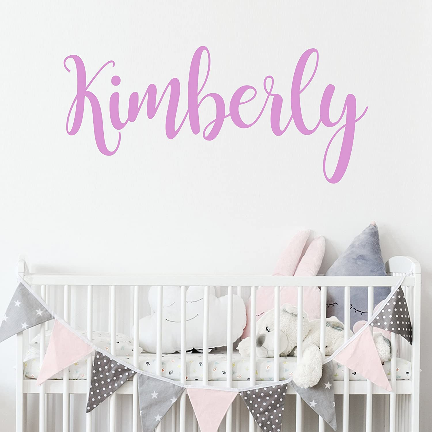 Personalized Custom Name Wall Decal for Baby Girl Nursery Room - Anti-Glare Large Matte Vinyl Monogram Lettering - Safe on Walls & Paint - Made in USA - Handmade to Order Decals for the Wall custom_name_girl