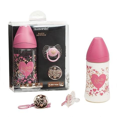 Establecer Suavinex Biberón 270 ml + Chupete 0-4 Mes + Lazo , color rosa
