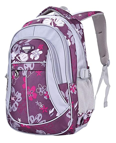 6bbc7a04a6fa MAYZERO Waterproof School Bag Durable Travel Camping Backpack for Boys and  Girls (Purple 1)