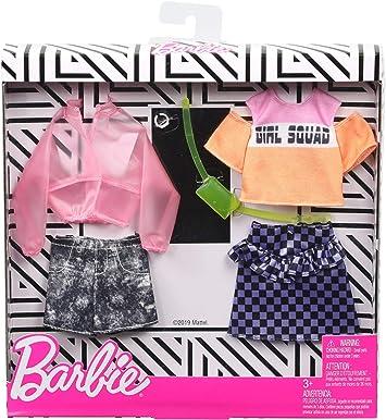 Amazon.es: Barbie Pack de Accesorios de Moda Chaqueta Transparente Rosa y Estampado de Cuadros (Mattel GHX58), color ...