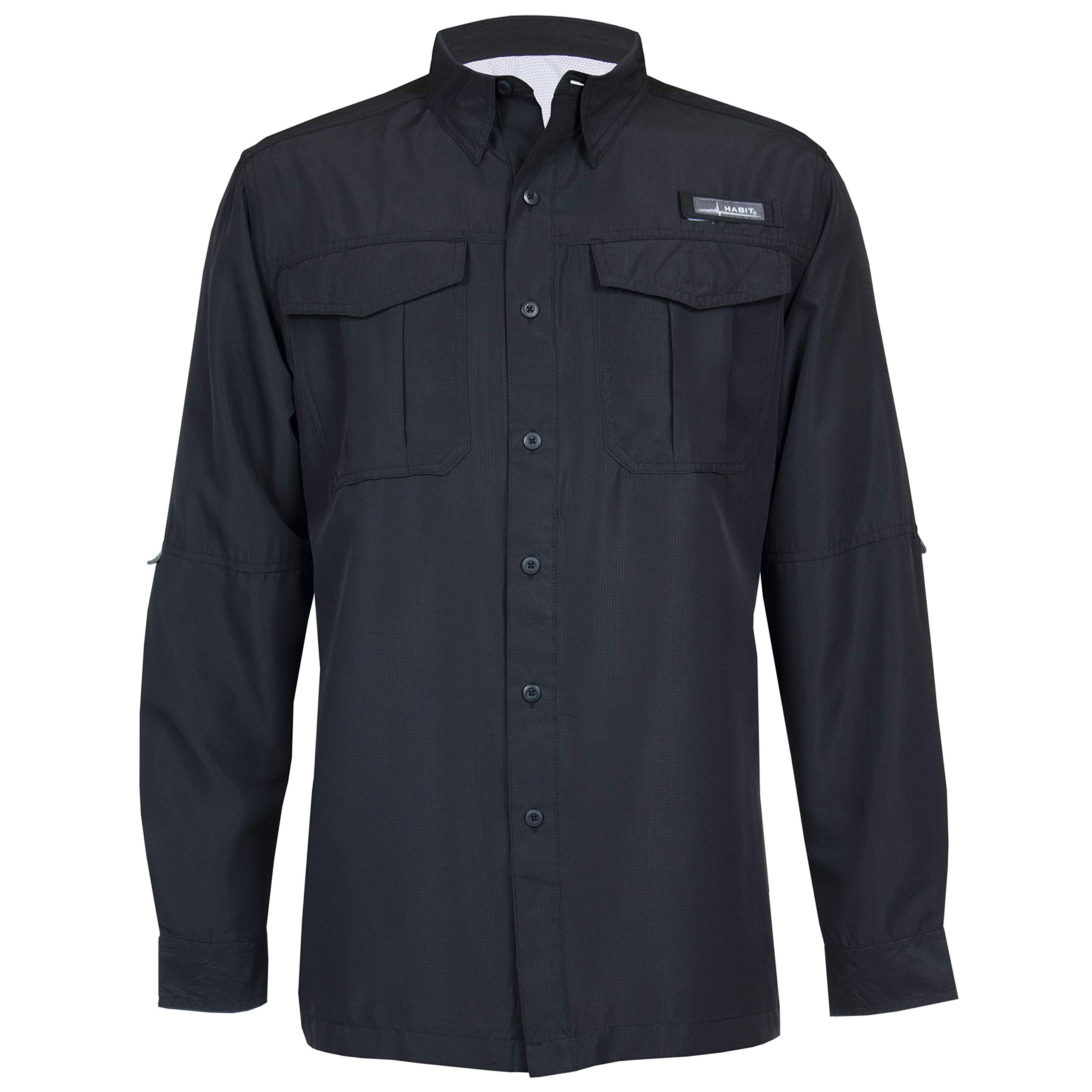 HABIT Men's Belcoast Long Sleeve River Guide Fishing Shirt, Black, 2X-Large