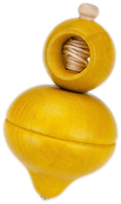 GICO Holzkreisel / Schnurkreisel gelb, Höhe 92 mm D 52 mm Höhe 92 mm D 52 mm