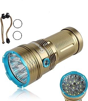 GiareBeam Linterna LED impermeable 12000 Lumen 12xCREE XM-L T6 ...