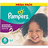 Pampers Premium Protection Active Fit Nappies, Mega Pack- Size 6, 64 Nappies
